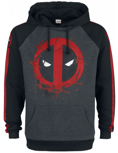 Deadpool Symbole Sweat à capuche chiné noir/gris