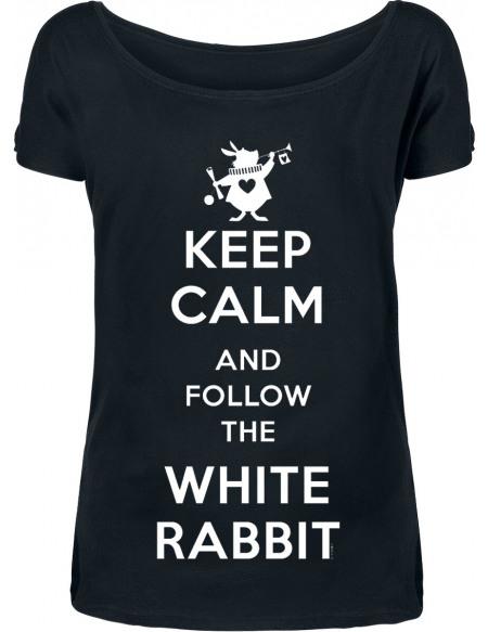 Alice Au Pays Des Merveilles Keep Calm And Follow The White Rabbit T-shirt Femme noir