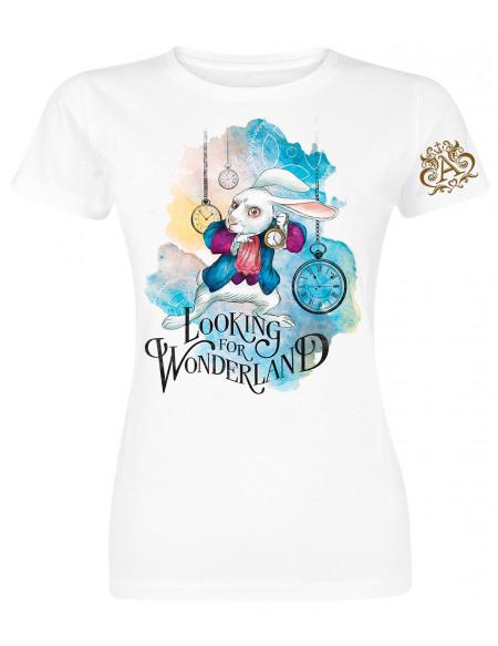 Alice Au Pays Des Merveilles Looking For Wonderland T-shirt Femme blanc