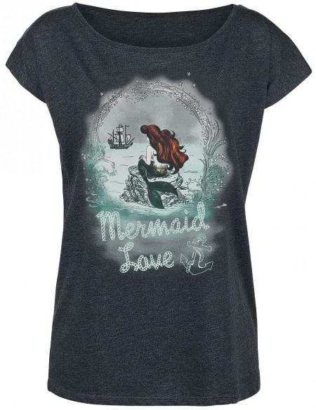 La Petite Sirène Merrmaid Love T-shirt Femme gris sombre chiné