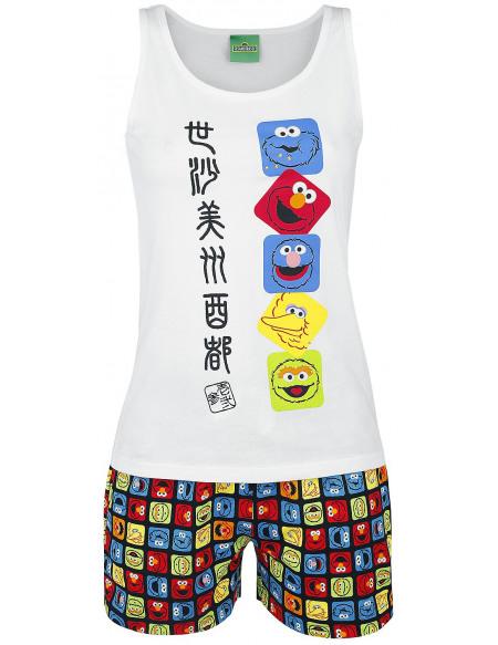 Sesame Street Faces Japan Pyjama blanc/multicolore