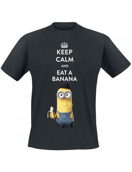 Les Minions Keep Calm And Eat A Banana T-shirt noir