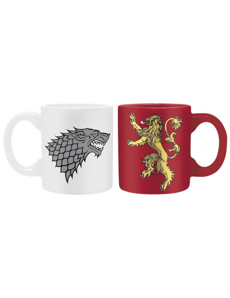 Game Of Thrones Stark & Lannister - Lot De Deux Tasses Expresso Set de Mugs blanc/rouge