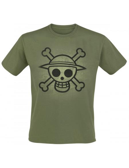 One Piece Drapeau Tête De Mort - Effet Usé T-shirt olive