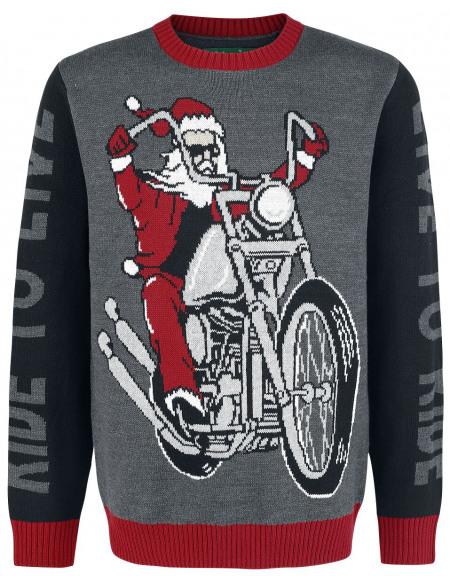 Pull Moche De Noël Live To Ride - Ride To Live Pull tricoté multicolore