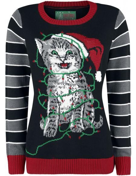 Pull Moche De Noël XMAS Kitty Pull tricoté multicolore