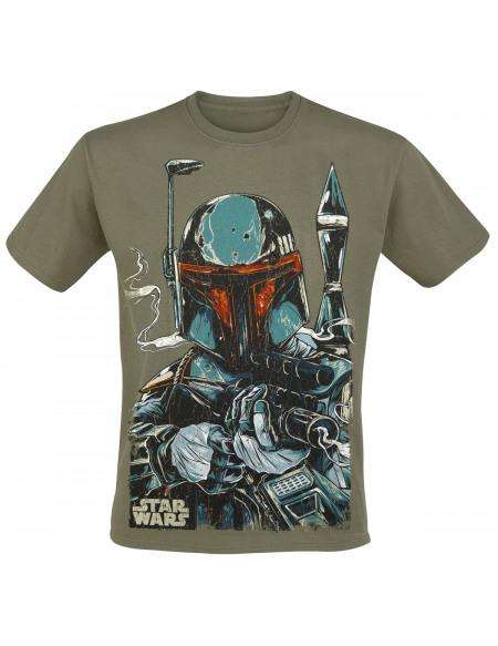 Star Wars Croquis Boba Fett T-shirt vert