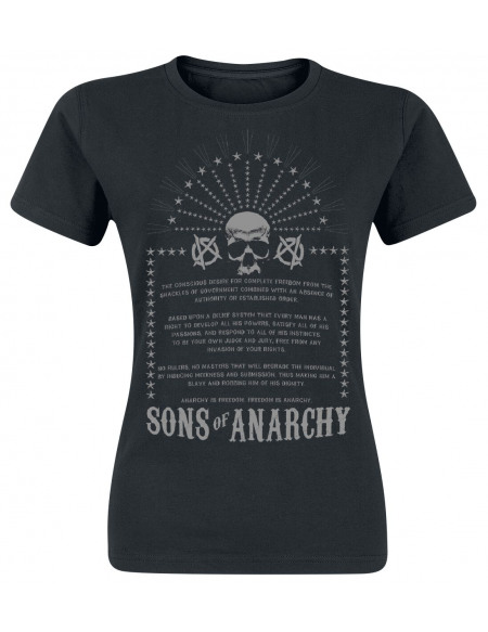 Sons Of Anarchy Anarchist Rules T-shirt Femme noir