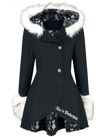 Alice Au Pays Des Merveilles Wonderland Manteau Femme noir