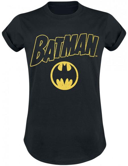 Batman Logo Vintage T-shirt Femme noir