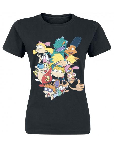 90's Nickelodeon Group T-shirt Femme noir