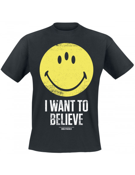 Smiley Believe T-shirt noir