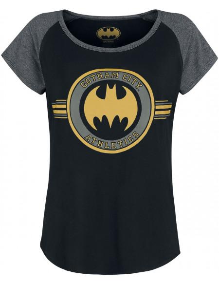Batman Logo T-shirt Femme chiné noir/gris