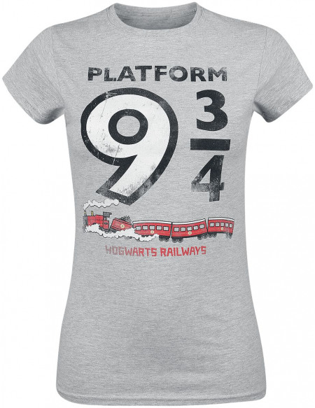 Harry Potter Platform 9 3/4 T-shirt Femme gris chiné