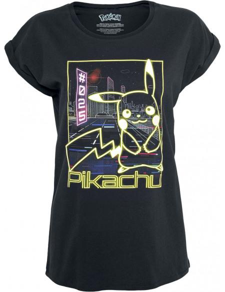 Pokémon Pikachu - Néon T-shirt Femme noir