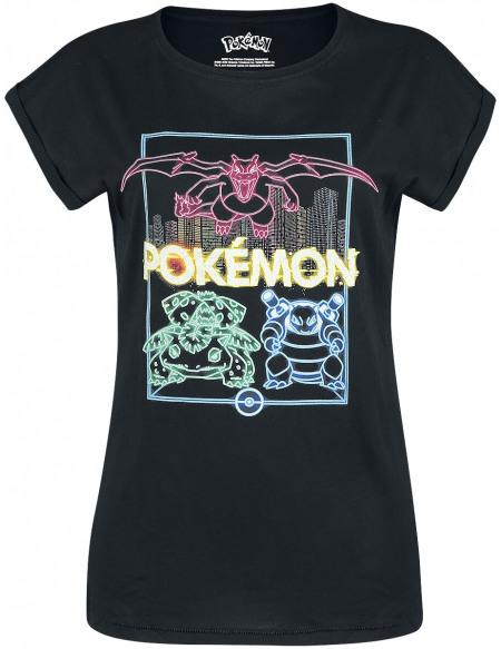 Pokémon Neon Starter T-shirt Femme noir