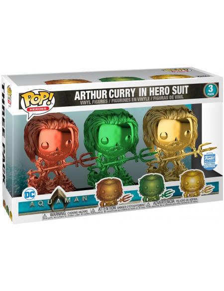 Aquaman Arthur Curry en Costume De Héros (3-Pack) (Funko Shop Europe) - Funko Pop! Figurine de collection Standard