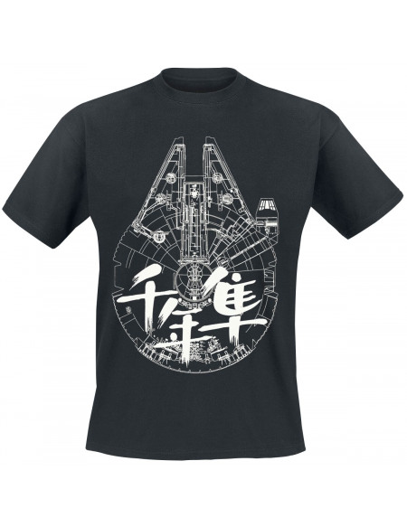 Star Wars Millenium Falcon - Blueprint T-shirt noir