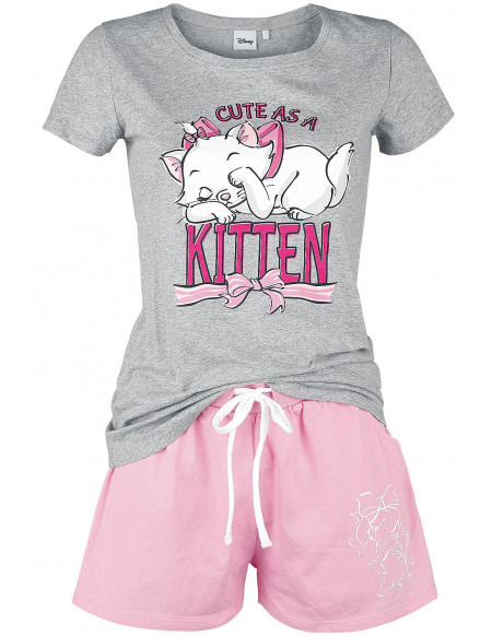 Les Aristochats Cute as a Kitten Pyjama chiné gris/rose
