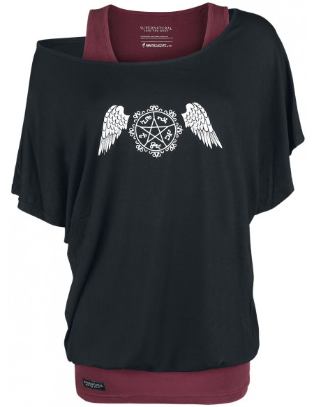 Supernatural Pentagram T-shirt Femme noir/rouge foncé