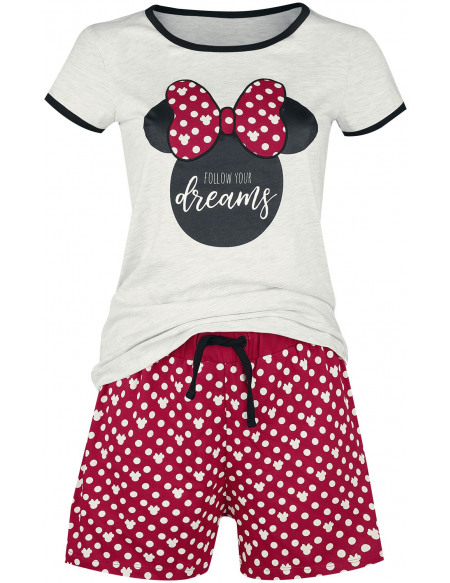 Mickey & Minnie Mouse Minnie Pois Pyjama rouge/blanc
