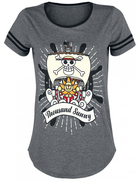 One Piece Thousand Sunny T-shirt Femme Gris anthracite chiné