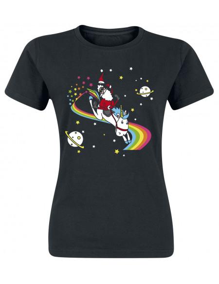 Santa's Einhorn T-shirt Femme noir