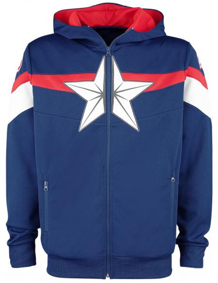 Captain America Tech Hoodie Sweat Zippé à Capuche bleu foncé