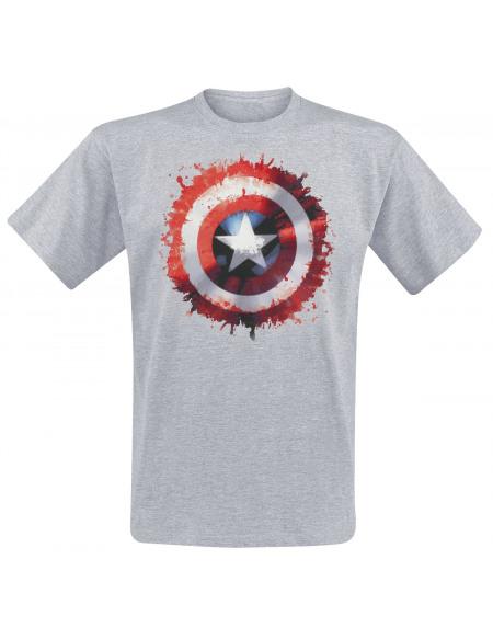 Captain America Bouclier Éclaboussures T-shirt gris chiné
