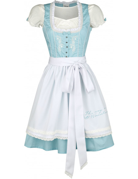 Alice Au Pays Des Merveilles This way to Wonderland Robe bleu clair/blanc