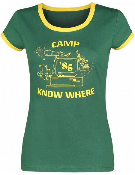 Stranger Things Camp Know Where T-shirt Femme vert/jaune