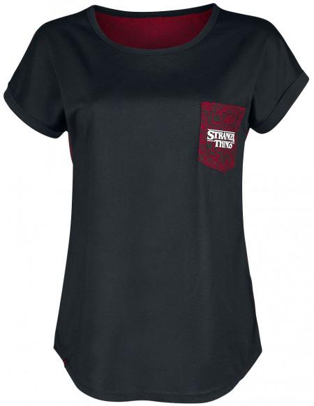 Stranger Things Demogorgon T-shirt Femme noir