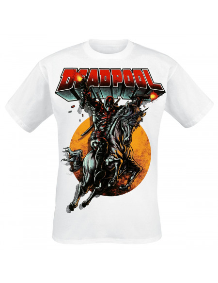 Deadpool Riding High T-shirt blanc