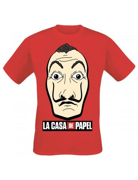 Haus des Geldes Masque & Logo T-shirt rouge