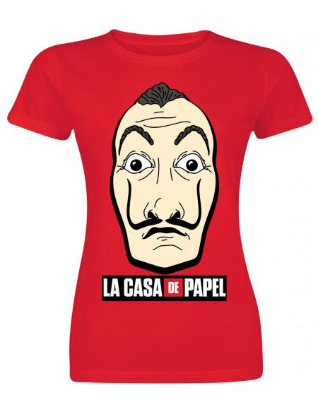 Haus des Geldes Masque & Logo T-shirt Femme rouge