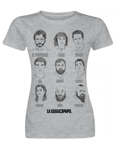 Haus des Geldes Croquis Tête T-shirt Femme gris chiné