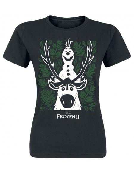 La Reine Des Neiges 2 - Olaf And Sven T-shirt Femme noir