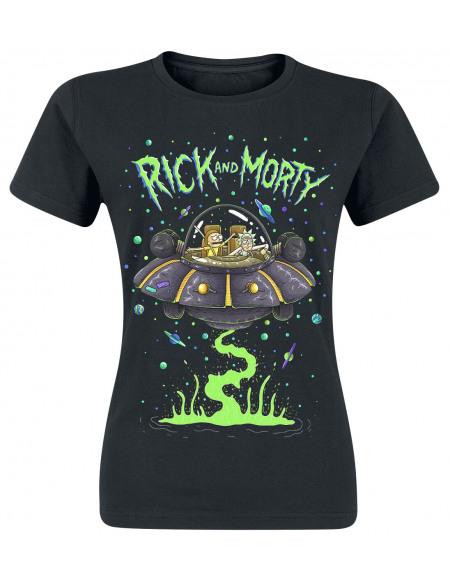 Rick & Morty Vaisseau Spatial T-shirt Femme noir