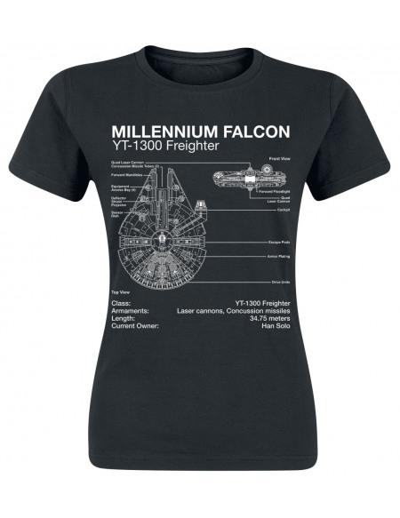 Star Wars Faucon Millenium - Croquis T-shirt Femme noir