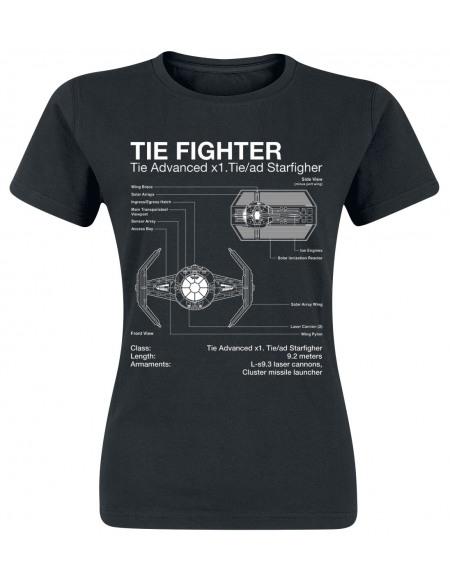 Star Wars Tie Fighter - X1 Starfighter - Croquis T-shirt Femme noir