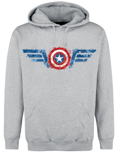Avengers Captain America - Shield Sweat à capuche gris chiné