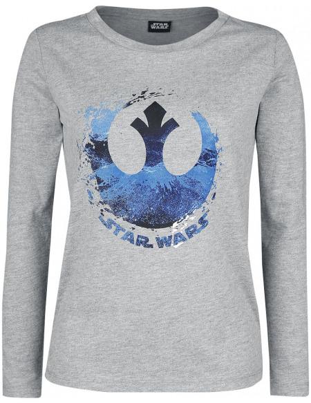 Star Wars Logo Rébellion - Éclaboussures Haut à manches longues gris clair chiné