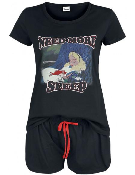 Alice Au Pays Des Merveilles Need More Sleep Pyjama noir