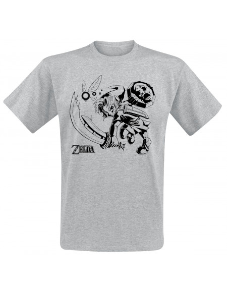 The Legend Of Zelda Link & Navi T-shirt gris chiné