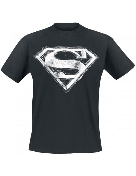 Superman Logo Tâché T-shirt noir