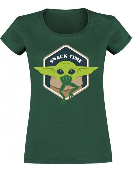 Star Wars The Mandalorian - Snack Time T-shirt Femme vert
