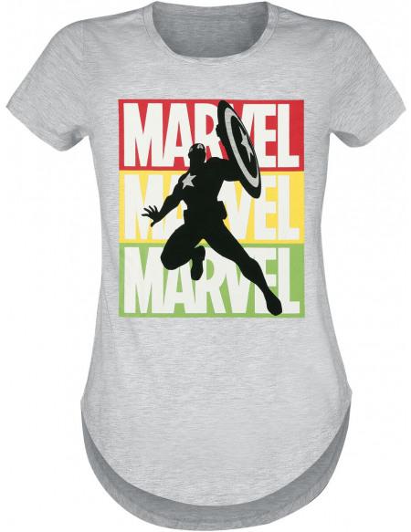 Captain America Logo Marvel T-shirt Femme gris chiné