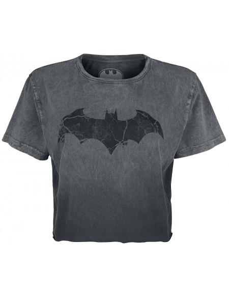 Batman Logo Délavé T-shirt Femme noir