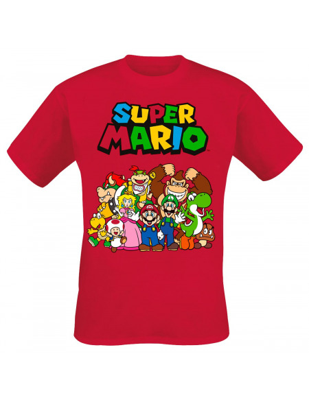 Super Mario Photo De Groupe T-shirt rouge