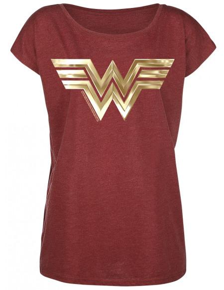 Wonder Woman Symbole Doré T-shirt Femme rouge chiné